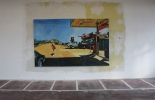 Silke Mathe Amerika III, 2002 Triptychon Öl auf Leinwand 201 x 316 cm